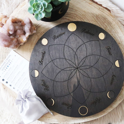 Gold Moonphase Crystal Grid - coppermoonboutique
