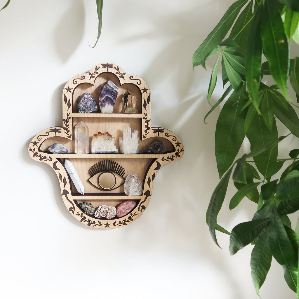 Light wood Hamsa Hand Crystal Shelf - coppermoonboutique