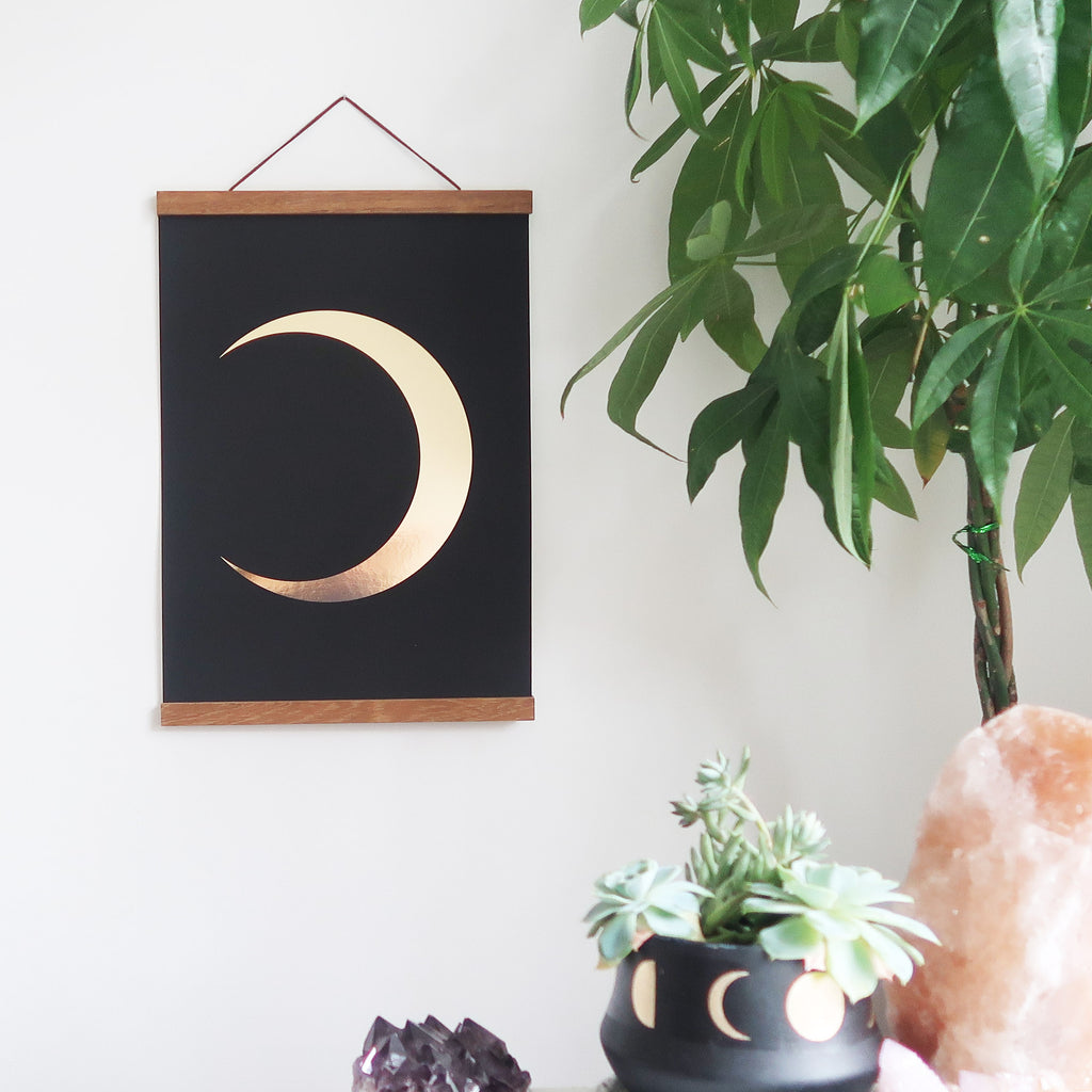 Gold Foil Moon Poster - coppermoonboutique