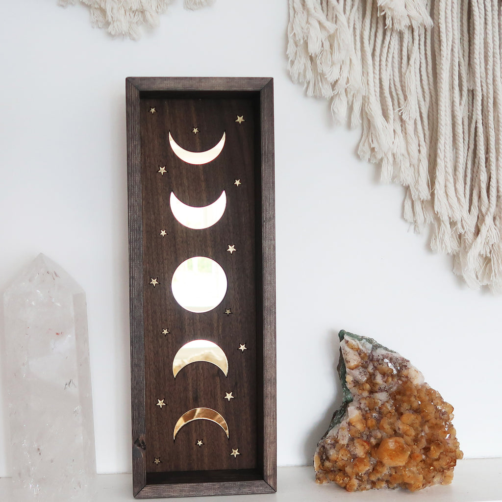 Mirror moonphase wooden altar art - coppermoonboutique