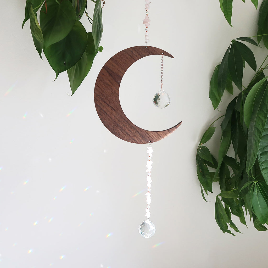 Wooden Crystal Moon Suncatcher