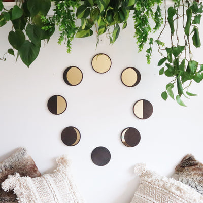 Wooden Moon Cycle Mirror Set - coppermoonboutique