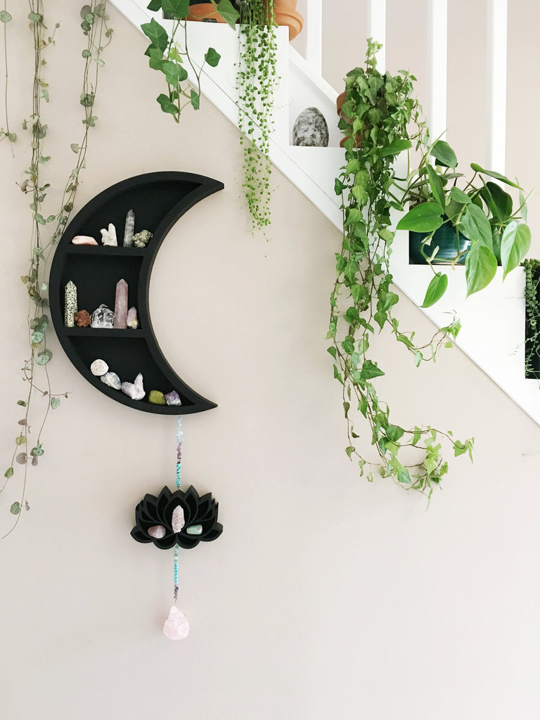 Large Moon and Lotus Hanging Shelf - coppermoonboutique