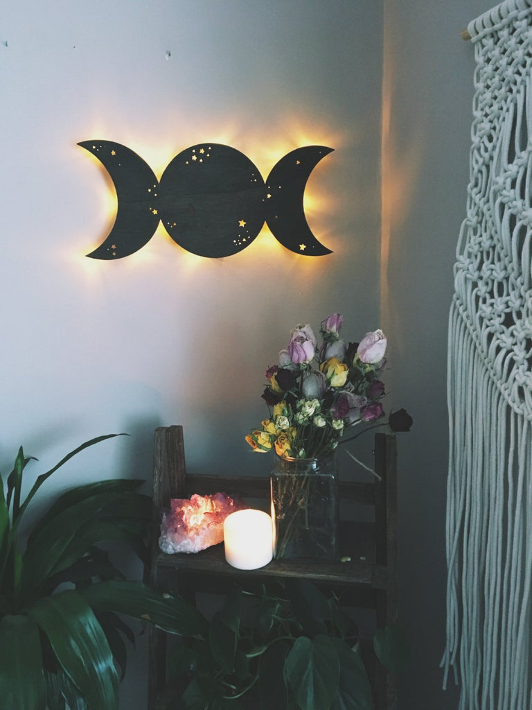 Triple Goddess Moon Wooden Wall Lamp - coppermoonboutique