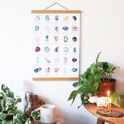 Healing crystals poster with wooden hanger - coppermoonboutique