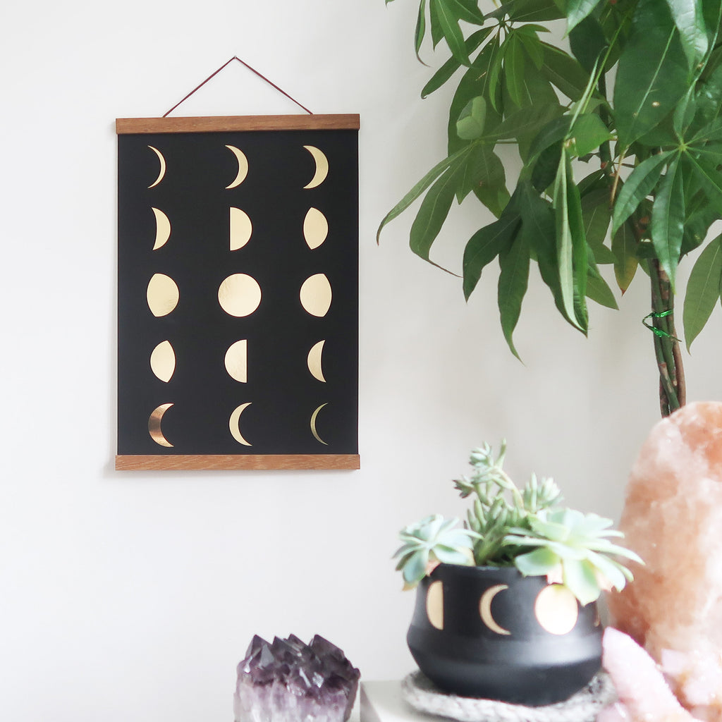 Gold Foil Moon Phase Poster - coppermoonboutique