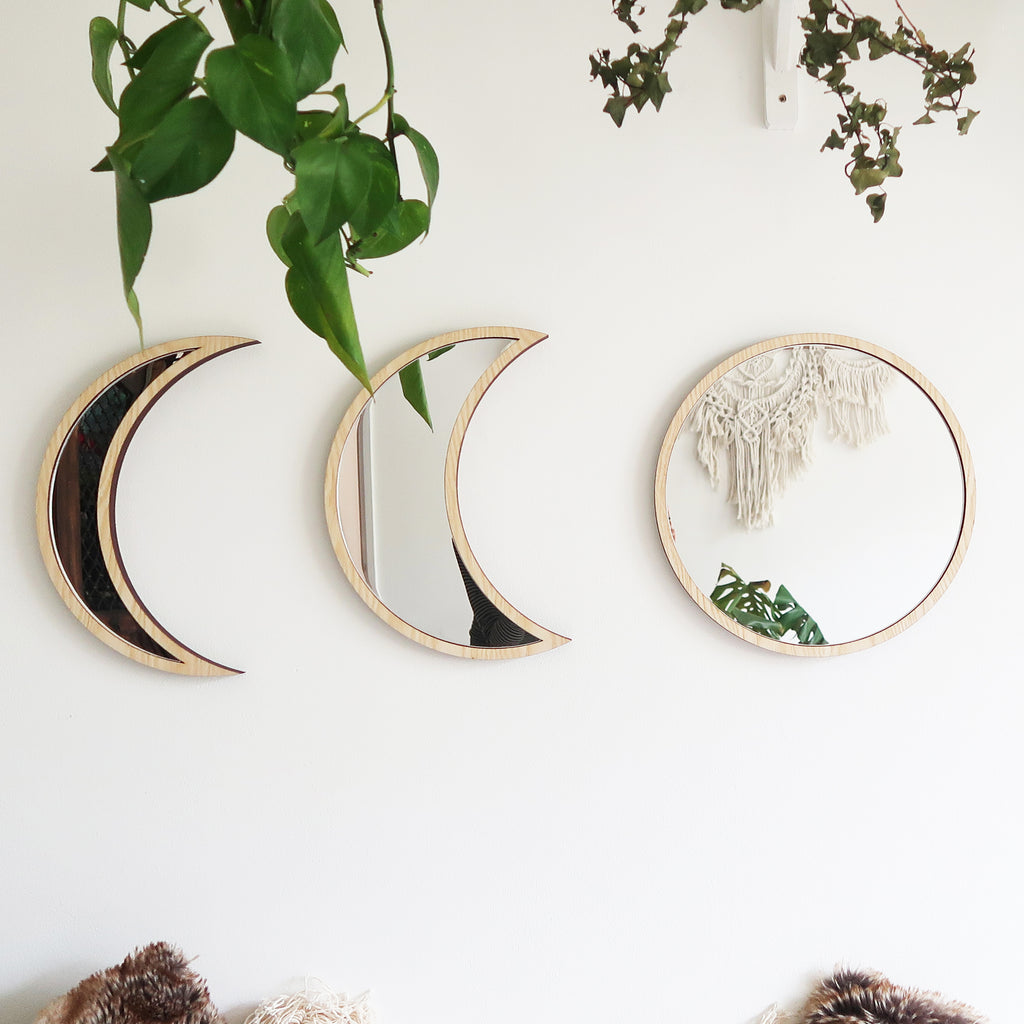 Light Wood Moonphase Mirror Set