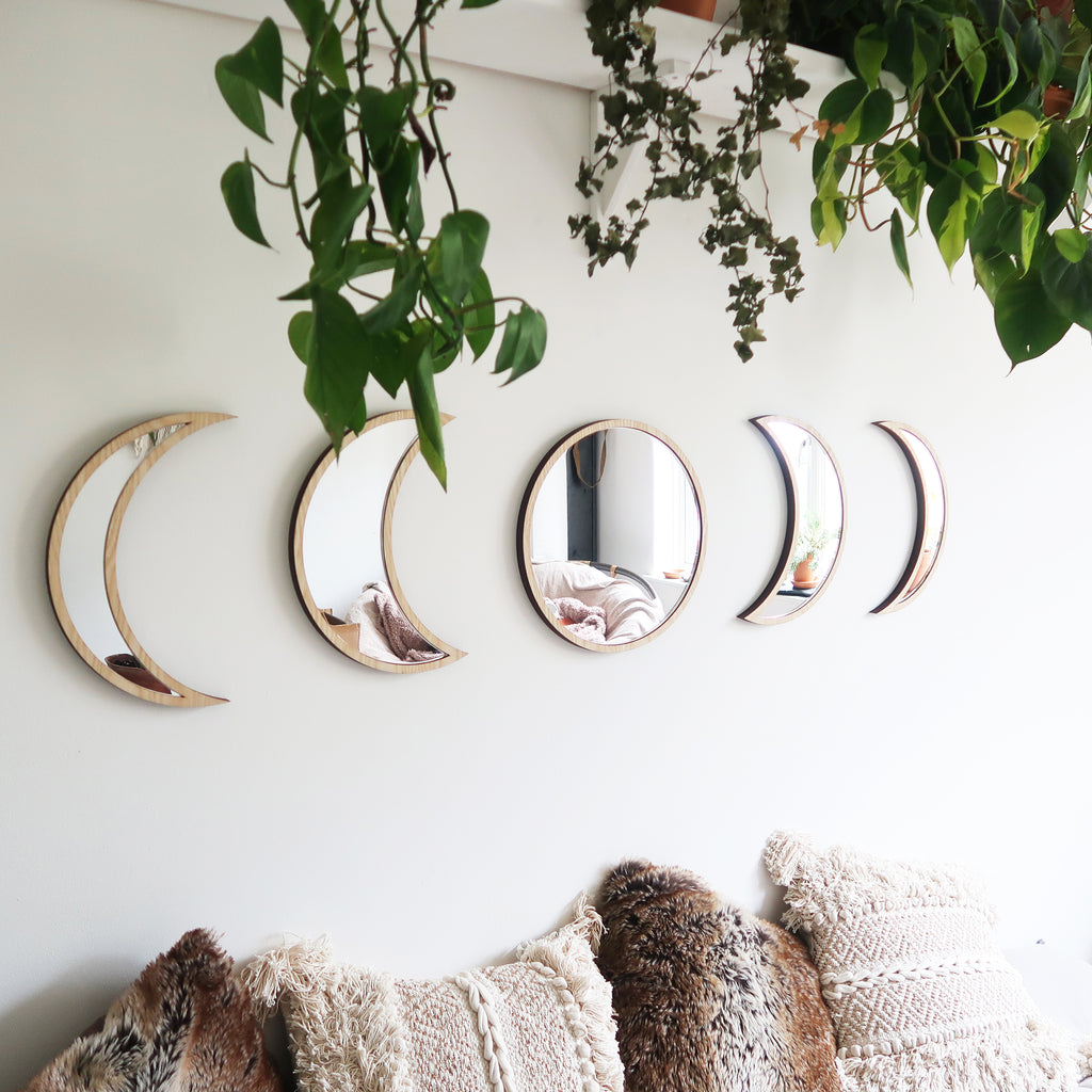 Light Wood Moonphase Mirror Set - coppermoonboutique