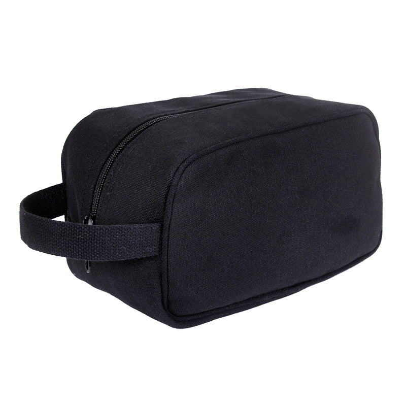 Black Canvas Personal Hygeine Bag - Toiletry Bag