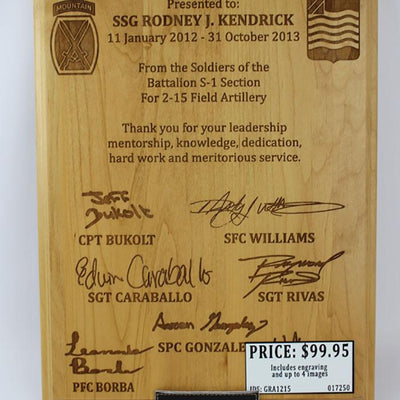 Customizable Genuine Red Alder Plaque