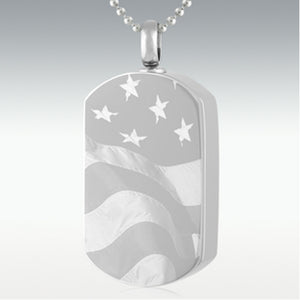 Flag Dog Tag Stainless Steel Cremation Jewelry Engravable