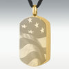 Gold Flag Dog Tag Stainless Steel Engravable