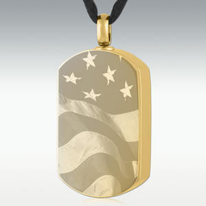 Gold Flag Cremation Dog Tag Stainless Steel Engravable