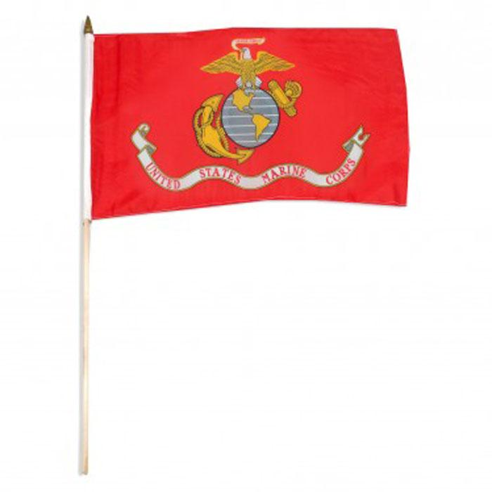 "Marine USMC Flag 12""x18"" on 24"" Wooden Stick"