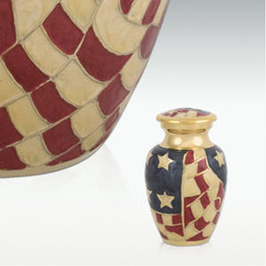 Old Glory Brass Keepsake Cremation Urn with Engravable Dog Tag