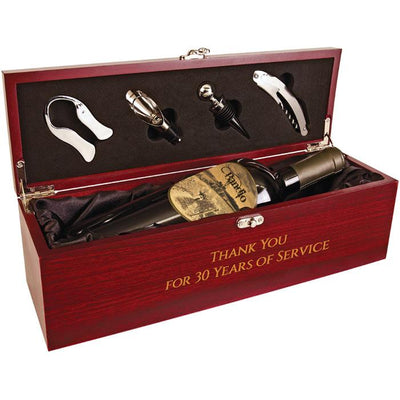 Rosewood Finish Single Wine Box with Tools and Black Lining