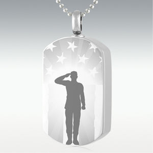 Star Spangled Salute Dog Tag Stainless Steel Cremation Jewelry Engravable