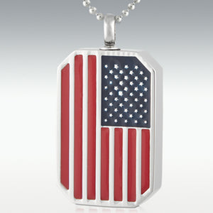 USA Flag Dog Tag Stainless Steel Cremation Jewelry Engravable
