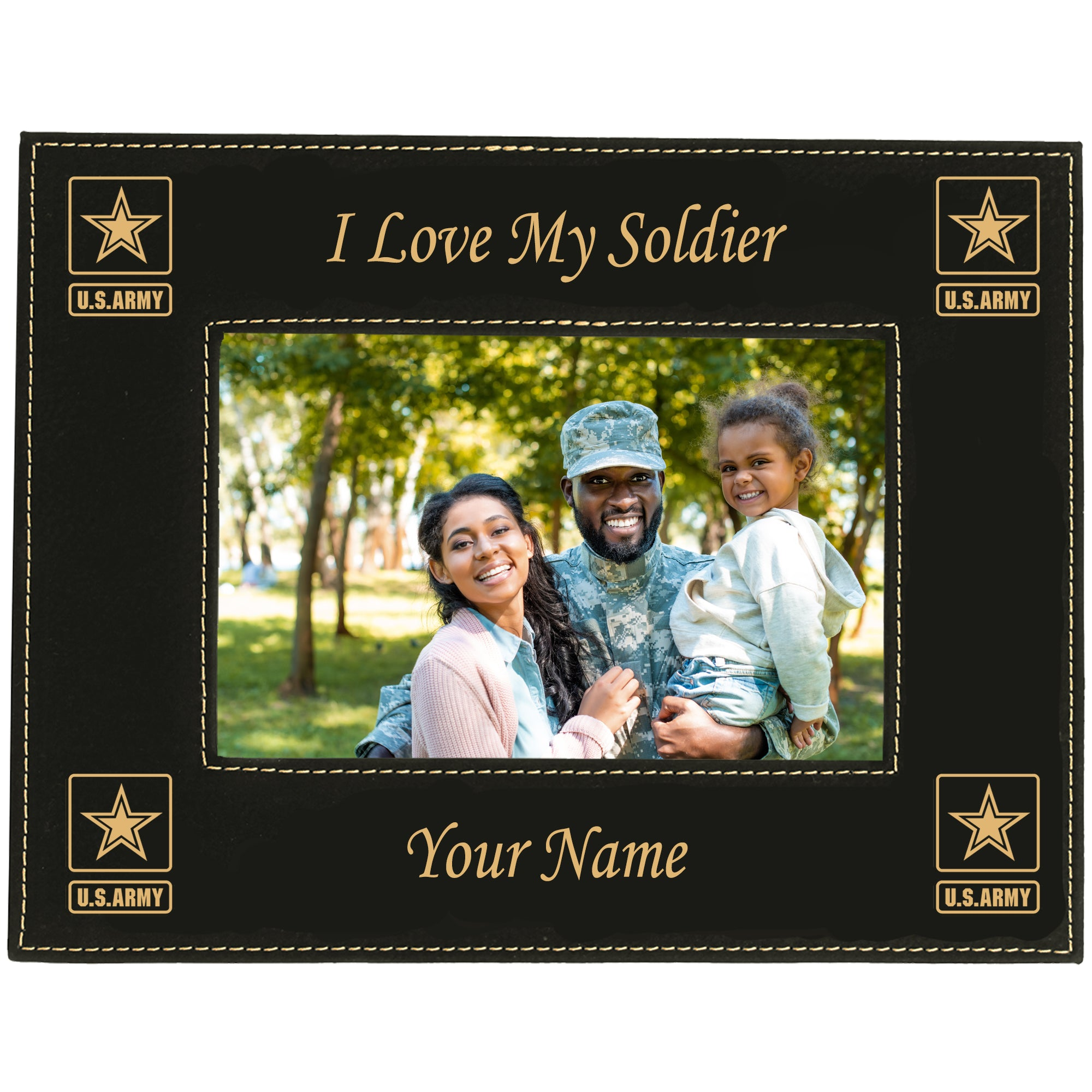 "Personalized I Love My Soldier Picture Frame With Army Logos 5""X7"""