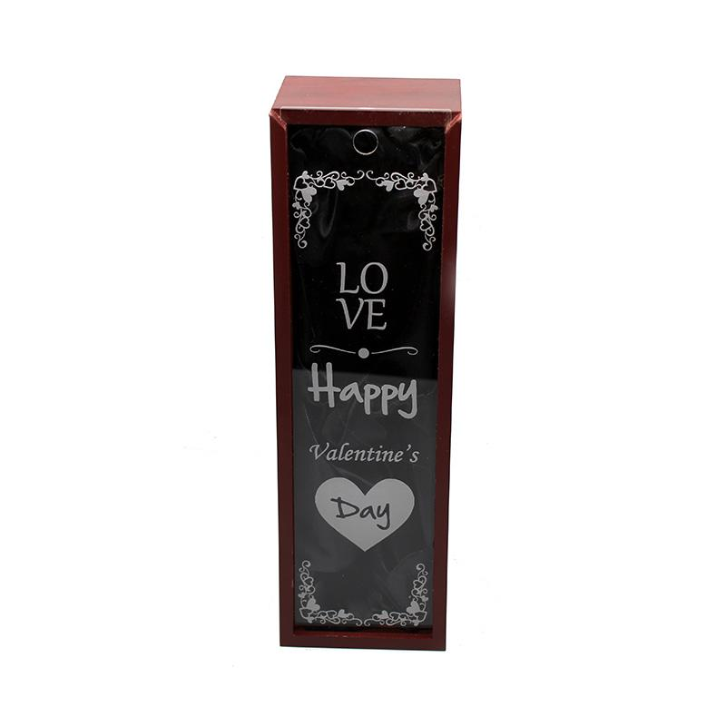 Personalized Rosewood Finish Wine Box with Clear Acrylic Lid