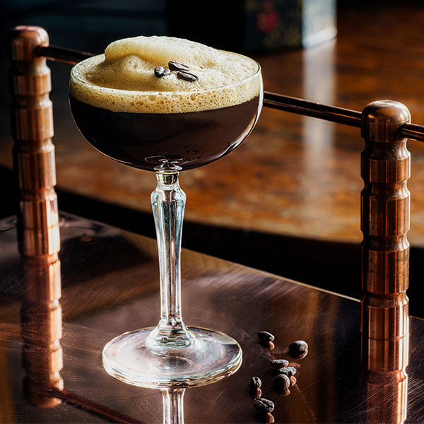 white russian brown cocktail in glass