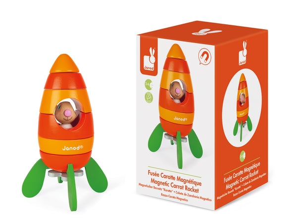 Magnetic Carrot Rocket Wooden Toy
