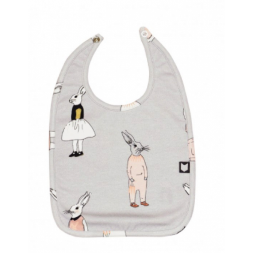 Light Grey Bib with Bunny Print