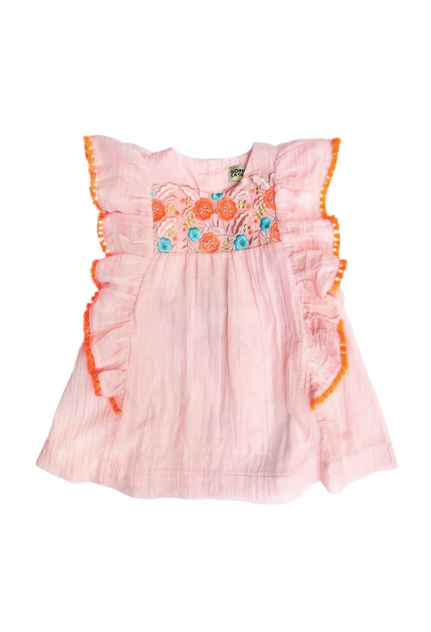 Embroidered Kate Dress Peach