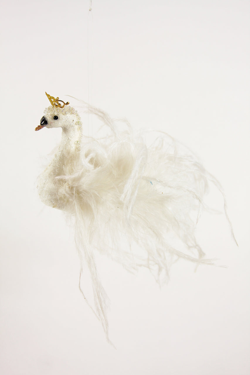 Crowned Enchanted Swan Ornament