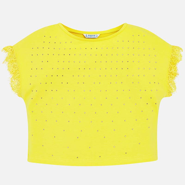 Short sleeved t-shirt with studs and lace Yellow