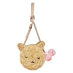 Cat Cross Body Straw Bag