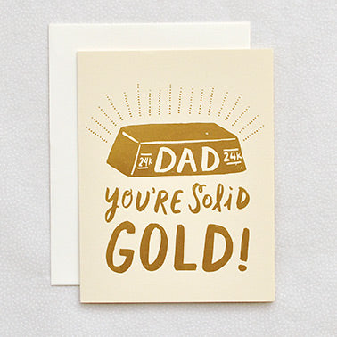 Hello Lucky Letterpress Card Gold Dad