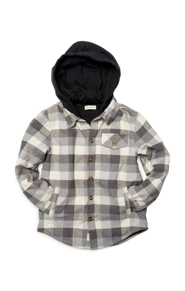 Glen Hooded Shirt Grey Check