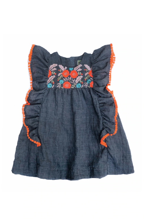 Embroidered Kate Dress Denim Blue