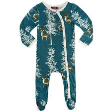 Bamboo Footed Romper Christmas Buck