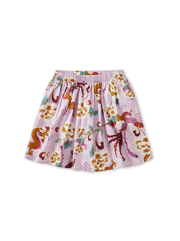 Tibetan Dragons Floral Twirl Skirt