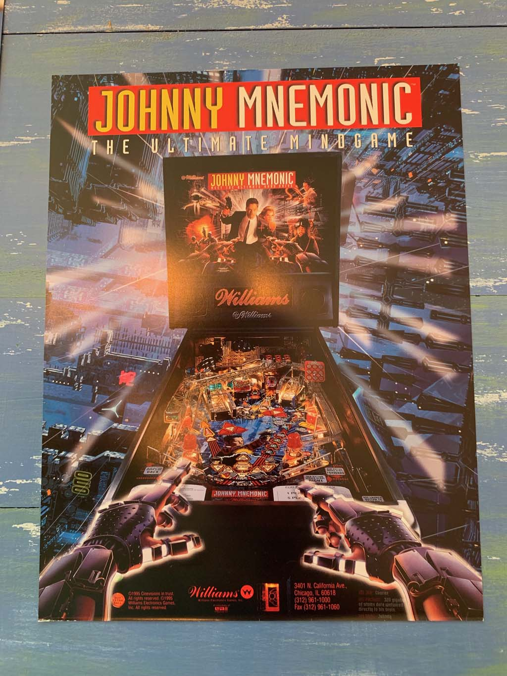 Johnny Mnemonic Pinball Flyer