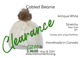 Cabled Beanie: Antique White