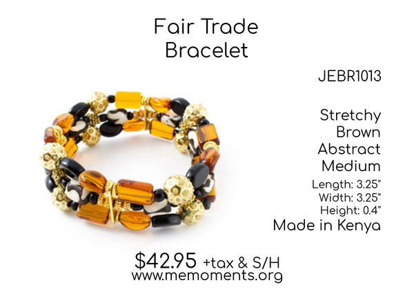 Fair Trade Medium sized Brown coloured Stretchy shaped Beads Bracelet made in Kenya - JEBR1013