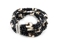 Fair Trade Medium Black & White Stretchy Beads Bracelet made in Kenya - JEBR1015
