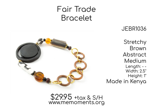 Fair Trade Medium sized Brown coloured Stretchy shaped Brass Bracelet made in Kenya - JEBR1036