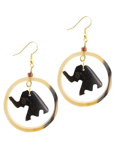 Medium sized Brown coloured Elephant shaped Cow Bone Earring made in Kenya - JEEA1200