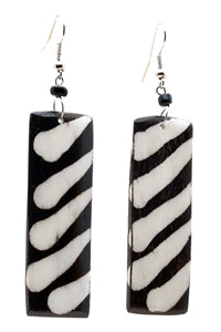 Medium sized Black & White coloured Rectangle shaped Cow Bone Earring made in Kenya - JEEA1227