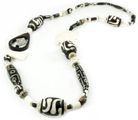 Long sized Black & White coloured None shaped Cow Bone Necklace made in Kenya - JENE1684