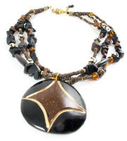 Long sized Brown coloured Round shaped Coconut Necklace made in Kenya - JENE1712
