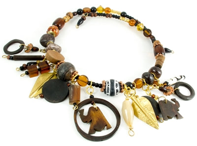 Short sized Brown coloured Dangling shaped Wire Necklace made in Kenya - JENE1781