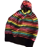 Neon Stripes Knit PomPom Toque