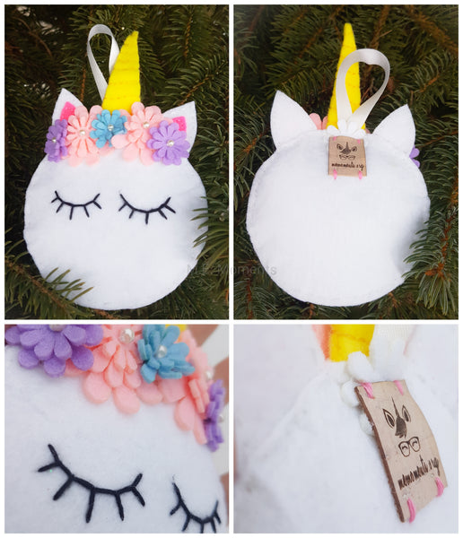 Unicorn Felt Ornament Customizable
