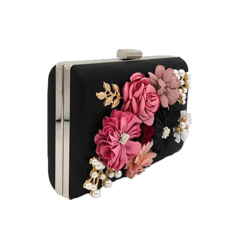 438a808492 Flower and Beaded Patchwork Women Black Evening Clutches Bag Metal Party  Prom Wedding Handbag Purse Bridal