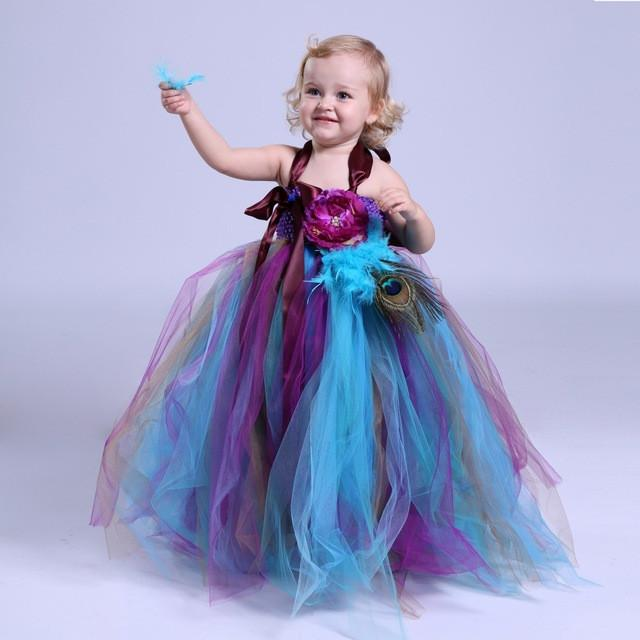 1d3562356a77 2017 Summer Tulle Flower Girl Dresses Baby Kids Party Pageant Dress For Girl  Flower Girl Tutu Dress peacock Dress Multi color
